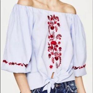 ZARA Embroidered floral off shoulder top